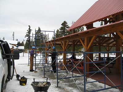 LMCC pavilion solar project scaffolding