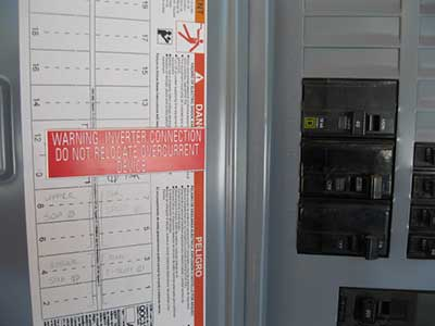 LMCC pavilion solar project electrical panel